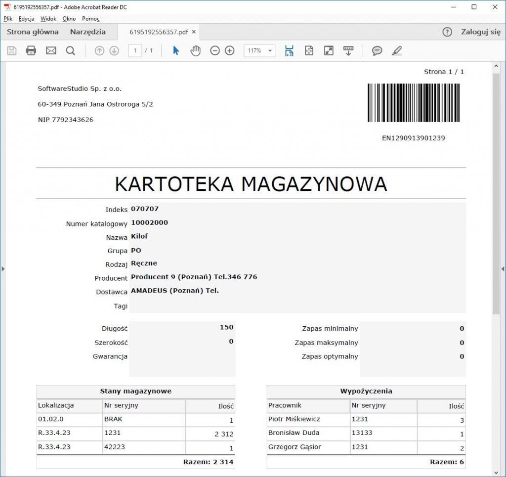Narzędziownia kartoteki magazynowe wydruk