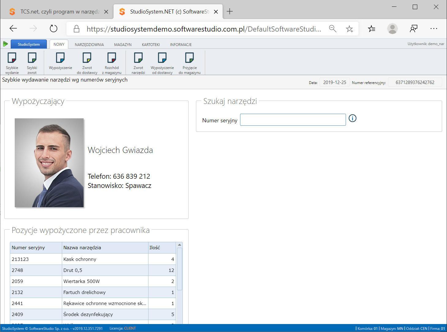 softwarestudio-magazyn-narzędzi Oprogramowanie do wypożyczalni