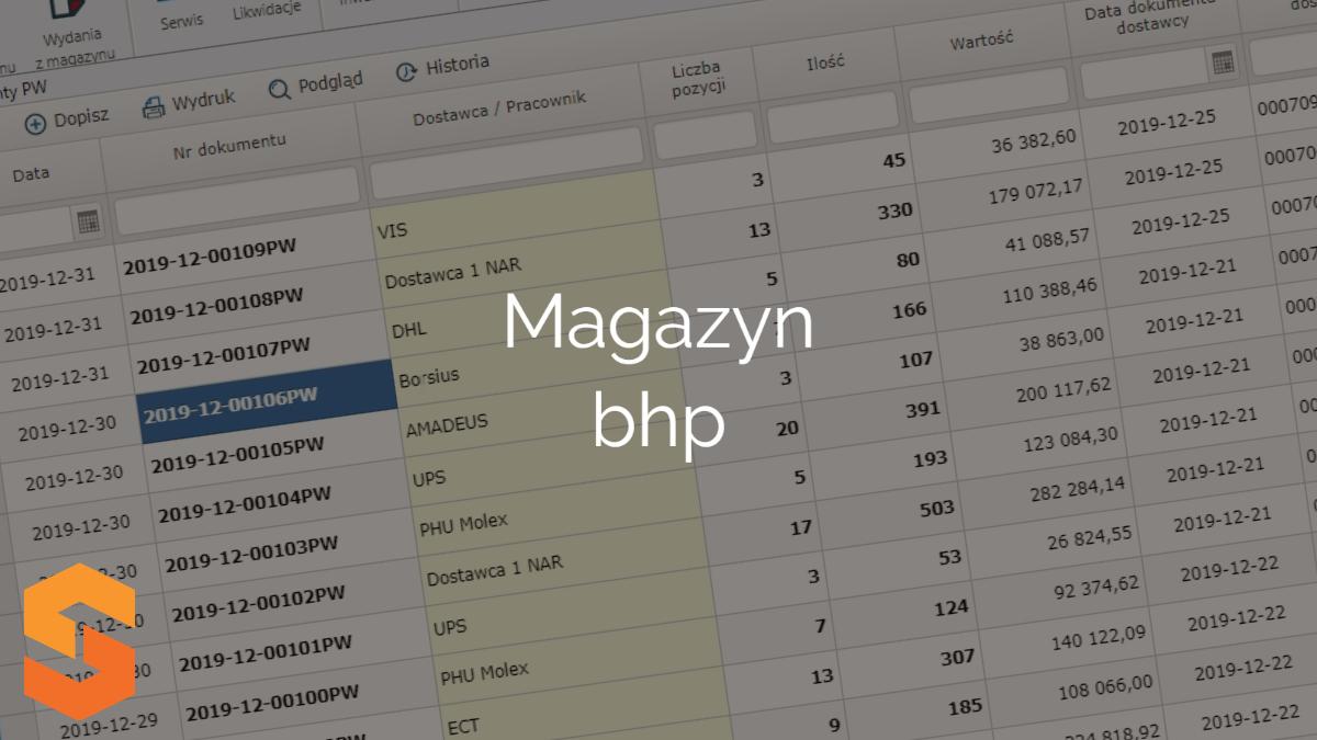 Magazyn bhp Program magazyn z narzędziami